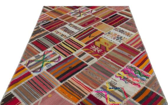 Natural 5'1'' X 7'9'' Ft Kilim Patchwork Unique Rug  turkish rug, area rug, moroccan rug, boucherouite rug, persian rug, berber rug