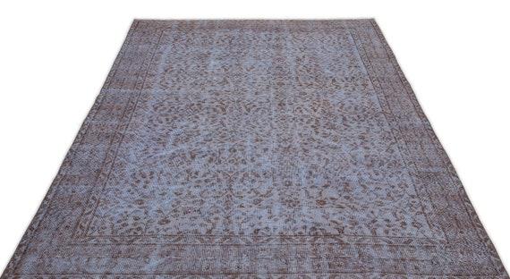 Blue 5'5'' X 8'11'' Ft Vintage Kilim Rug, turkish rug, area rug, moroccan rug, boucherouite rug, persian rug, berber rug, wool rug