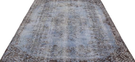 Blue 6'1'' X 9'0'' Ft Vintage Kilim Rug, Turkish Area Rug, Area Rug, Moroccan Rug, Boucherouite Rug, Persian Rug, Berber Rug, Wool Rug, Boho