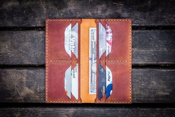 GL No.49 Crazy Horse Tan Personalized Handmade Unisex Long Wallet