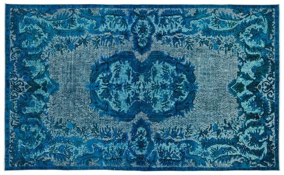 Carved  Kilim Rug Turquoise Large Size 6'2'' X 10'2'' FtTurkish Oushak Moroccan Rug