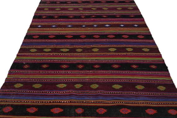 Striped 5'9'' X 10'6'' Ft Kilim Rug, turkish rug, area rug, moroccan rug, boucherouite rug, persian rug, berber rug, wool rug