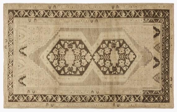 Heritage  Kilim Rug Beige Medium Size 4'7'' X 7'5'' FtTurkish Oushak Moroccan Rug