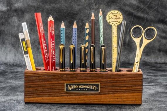 GL Wooden Desk Organizer Pen And Tool Holder Walnut