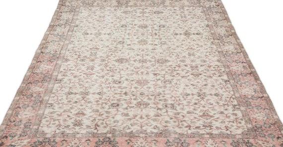 Beige 5'1'' X 8'5'' Ft Vintage Kilim Rug, Turkish Rug, Area Rug, Moroccan Rug, Boucherouite Rug, Persian Rug, Berber Rug, Wool Rug, Boho