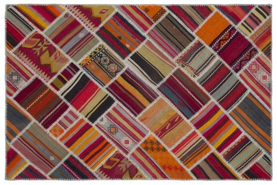 Naturel 5'1'' X 7'8'' Ft Kilim Patchwork Unique Rug