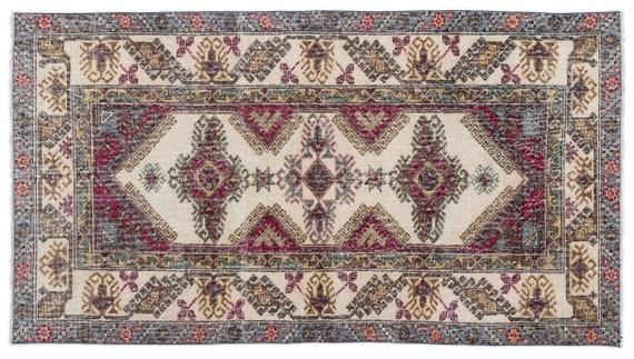 Vintage  Kilim Rug Retro Small Size 3'9'' X 6'10'' Ft   kilim rug, moroccan rug, beni ourain, rag rug, tapis kilim, vintage