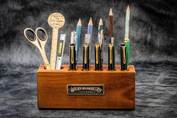 GL Wooden Desk Organizer Pen Holder Walnut