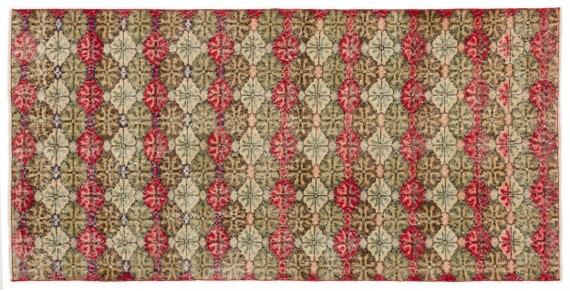 Vintage  Kilim Rug Retro Small Size 3'8'' X 7'6'' Ft   kilim rug, moroccan rug, beni ourain, rag rug, tapis kilim, vintage