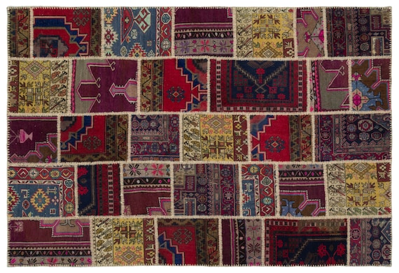 Anatolia 6'4'' X 9'3'' Ft Kilim Patchwork Unique Rug  turkish rug, area rug, moroccan rug, boucherouite rug, persian rug, berber rug