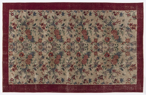 Vintage  Kilim Rug Naturel Medium Size 4'8'' X 7'3'' FtTurkish Oushak Moroccan Rug