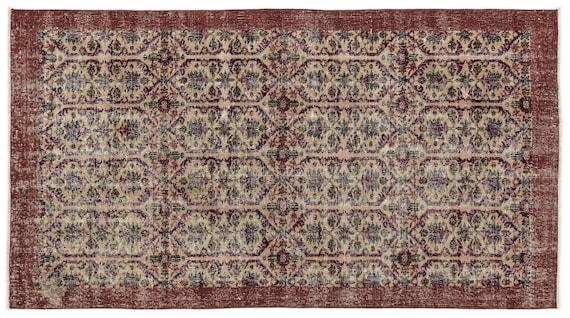 Vintage  Kilim Rug Retro Small Size 3'8'' X 6'9'' Ft   kilim rug, moroccan rug, beni ourain, rag rug, tapis kilim, vintage