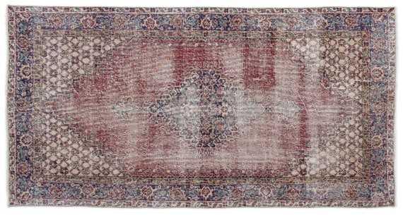 Vintage  Kilim Rug Retro Small Size 3'8'' X 7'1'' Ft   kilim rug, moroccan rug, beni ourain, rag rug, tapis kilim, vintage