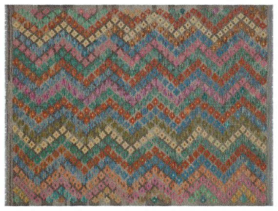 Kandahar  Kilim Rug Naturel Medium Size 4'11'' X 6'8'' FtTurkish Oushak Moroccan Rug