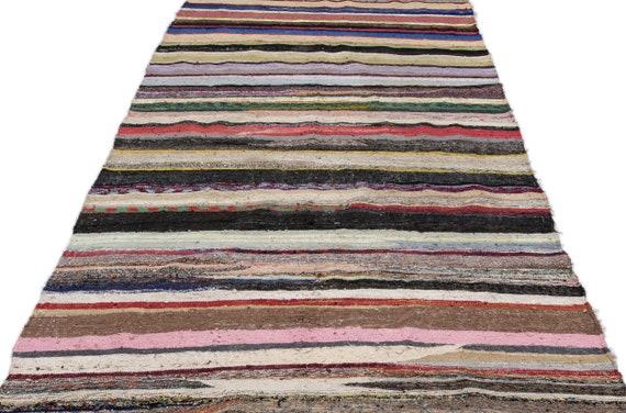 Chaput 5'9'' X 11'1'' Ft Kilim Rug , turkish rug, area rug, moroccan rug, boucherouite rug, persian rug, berber rug, wool rug