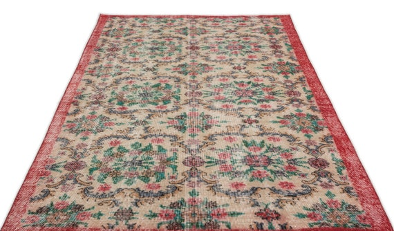 Retro 5'1'' X 8'11'' Ft Vintage Kilim Rug, turkish rug, area rug, moroccan rug, boucherouite rug, persian rug, berber rug, wool rug