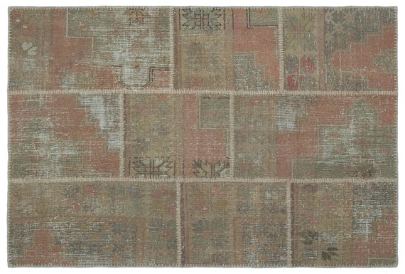 Patchwork Unique  Kilim Rug Beige Small Size 3'11'' X 5'11'' Ft,    moroccan rug, beni ourain rug, rag rug, tapis kilim