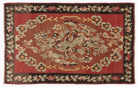 Kilim  Rug  Karabakh Large Size 5'11'' X 9'2'' Ft   kilim rug, moroccan rug, beni ourain, rag rug, tapis kilim, vintage