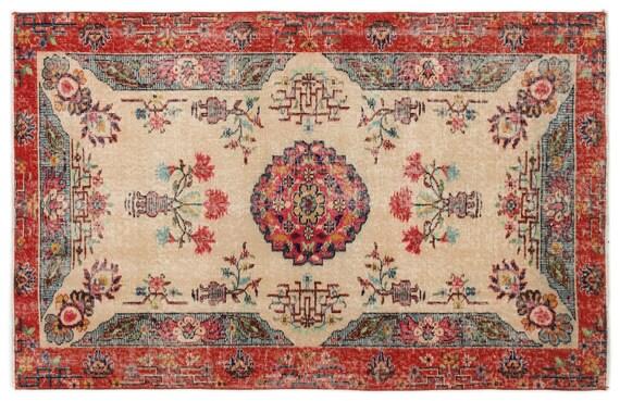 Vintage  Kilim Rug Retro Small Size 3'9'' X 5'10'' Ft   kilim rug, moroccan rug, beni ourain, rag rug, tapis kilim, vintage
