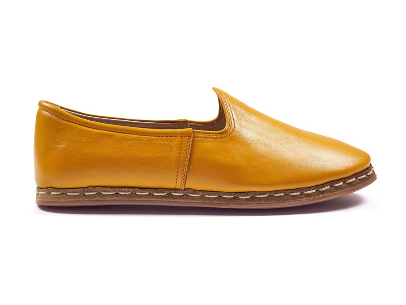 36 EU Mustard Yellow Color Leather Sanah Loafer Flat Slip Ons Casual Slippers Leather Flat Shoes