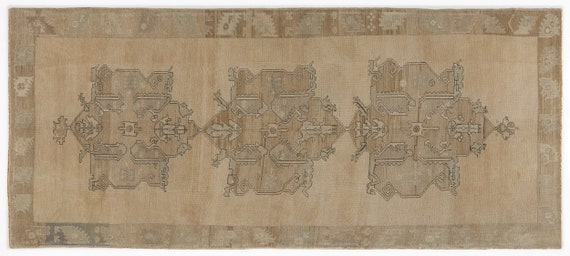 Heritage  Kilim Rug Beige Medium Size 4'11'' X 11'6'' FtTurkish Oushak Moroccan Rug