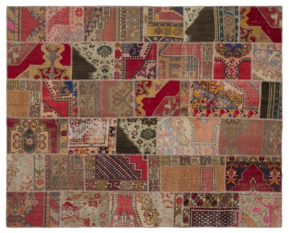 Anatolia 7'10'' X 9'10'' Ft Patchwork Unique Kilim Rug turkish rug, area rug, moroccan rug, boucherouite rug, persian rug, berber rug