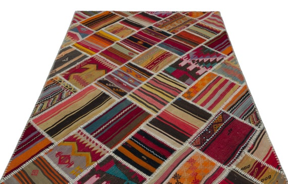 Natural 5'2'' X 7'7'' Ft Kilim Patchwork Unique Rug  turkish rug, area rug, moroccan rug, boucherouite rug, persian rug, berber rug