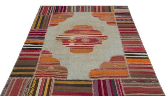 Natural 5'2'' X 6'7'' Ft Kilim Patchwork Unique Rug  turkish rug, area rug, moroccan rug, boucherouite rug, persian rug, berber rug
