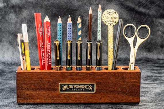 GL Wooden Desk Organizer Pen And Tool Holder Mahogany
