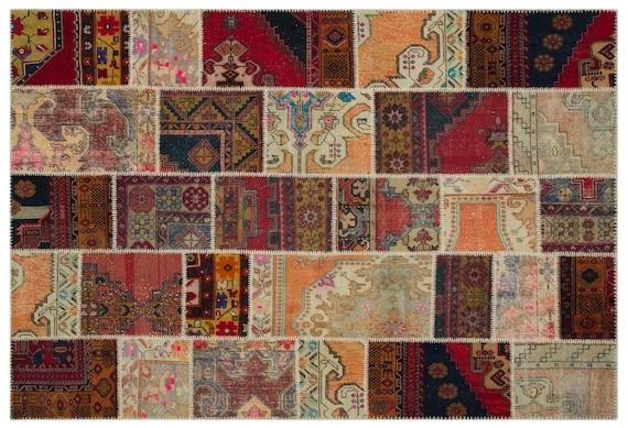 Patchwork Unique  Kilim Rug Anatolia Large Size 6'4'' X 9'2'' FtTurkish Oushak Moroccan Rug