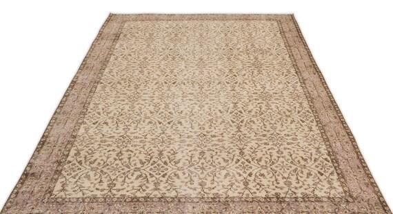 Beige 5'7'' X 9'0'' Ft Vintage Kilim Rug, turkish rug, area rug, moroccan rug, boucherouite rug, persian rug, berber rug, wool rug