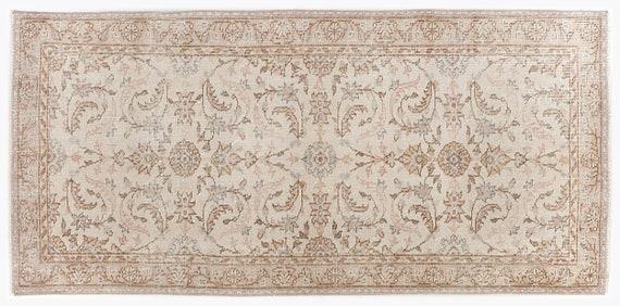 Beige 3'1'' X 6'7'' Ft Vintage Kilim Rug, Turkish Rug, Area Rug, Moroccan Rug, Boucherouite Rug, Persian Rug, Berber Rug, Wool Rug, Boho