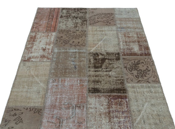 Beige 3'11'' X 5'11'' Ft Patchwork Unique Kilim Rug turkish rug, area rug, moroccan rug, boucherouite rug, persian rug, berber rug
