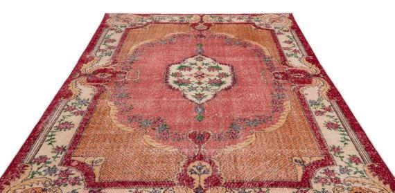 Natural 6'11'' X 10'2'' Ft Vintage Kilim Rug, turkish area rug, home decor rug, aztec rug, pale color rug, nomadic rug, hall rug,