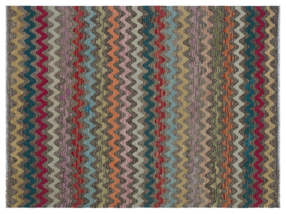 Kandahar  Kilim Rug Naturel Small Size 4'3'' X 5'8'' FtTurkish Oushak Moroccan Rug