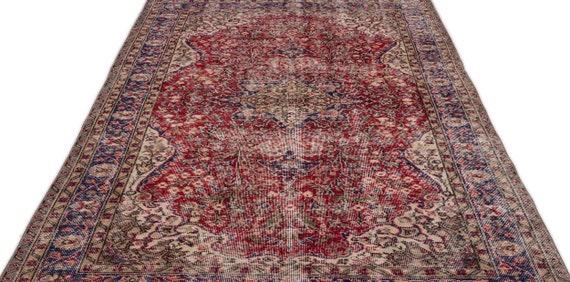 Natural 5'6'' X 9'1'' Ft Vintage Kilim Rug, Turkish Rug, Area Rug, Moroccan Rug, Boucherouite Rug, Persian Rug, Berber Rug, Wool Rug, Boho