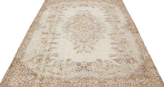 Beige 5'9'' X 9'3'' Ft Vintage Kilim Rug, Turkish Rug, Area Rug, Moroccan Rug, Boucherouite Rug, Persian Rug, Berber Rug, Wool Rug, Boho
