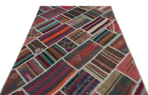 Natural 5'1'' X 7'11'' Ft Kilim Patchwork Unique Rug  turkish rug, area rug, moroccan rug, boucherouite rug, persian rug, berber rug