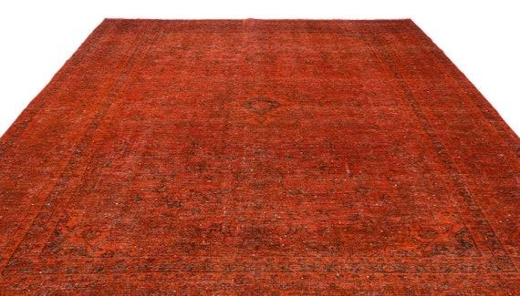 Orange  9'4'' X 12'11'' Ft Persian Kilim Rug , turkish rug, area rug, moroccan rug, boucherouite rug, persian rug, berber rug, wool rug