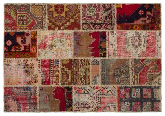Patchwork Unique  Kilim Rug Anatolia Medium Size 5'3'' X 7'7'' FtTurkish Oushak Moroccan Rug