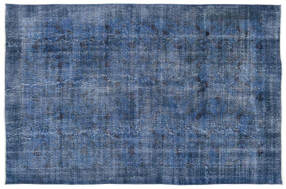 Blue 6'5'' X 10'0'' Ft Vintage Kilim Rug, Turkish Rug, Area Rug, Moroccan Rug, Boucherouite Rug, Persian Rug, Berber Rug, Wool Rug, Boho