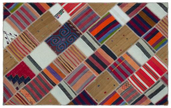 Natural 5'1'' X 8'0'' Ft Kilim Patchwork Unique Rug  turkish rug, area rug, moroccan rug, boucherouite rug, persian rug, berber rug