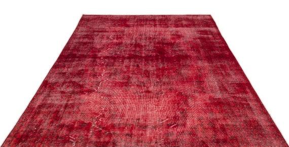 Red 6'7'' X 10'6'' Ft Vintage Kilim Rug, Turkish Area Rug, Area Rug, Moroccan Rug, Boucherouite Rug, Persian Rug, Berber Rug, Wool Rug, Boho