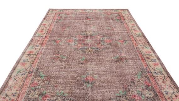 Natural 6'11'' X 10'5'' Ft Vintage Kilim Rug, turkish area rug, home decor rug, aztec rug, pale color rug, nomadic rug, hall rug,