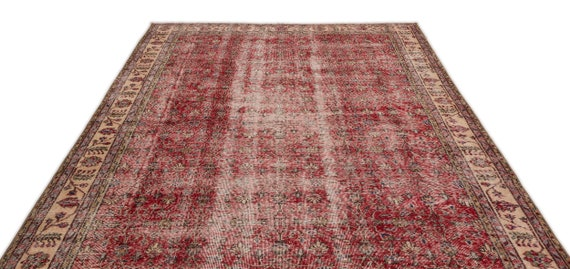 Natural 6'11'' X 10'6'' Ft Vintage Kilim Rug, turkish rug, area rug, moroccan rug, boucherouite rug, persian rug, berber rug, wool rug