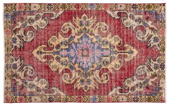 Natural 4'6'' X 7'3'' Ft Vintage Kilim Rug, Turkish Rug, Area Rug, Moroccan Rug, Boucherouite Rug, Persian Rug, Berber Rug, Wool Rug, Boho
