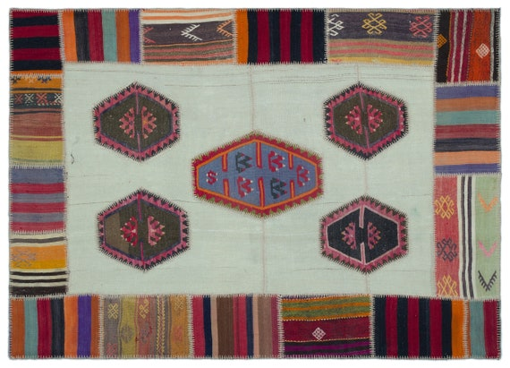 Kilim Patchwork Unique  Rug  Naturel Medium Size 5'4'' X 7'5'' FtTurkish Oushak Moroccan Rug