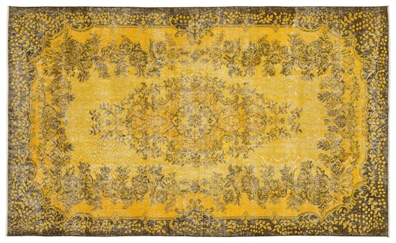 Yellow 5'8'' X 9'5'' Ft Vintage Handwoven Kilim Rug