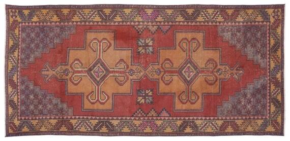Vintage  Kilim Rug Naturel Small Size 4'4'' X 9'5'' FtTurkish Oushak Moroccan Rug