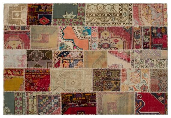 Patchwork Unique  Kilim Rug Anatolia Large Size 6'3'' X 9'1'' FtTurkish Oushak Moroccan Rug